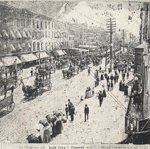 Image of B+W image of photo of funeral procession for victims of 1900 dock fire, Washington St. looking south to Fourth St., Hoboken, 1900.   - Print, Photographic