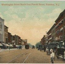 Image of Color postcard: Washington Street North From Fourth Street, Hoboken, circa 1908.  - Postcard