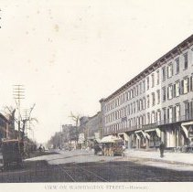 Image of Hand-colored copy of photo view looking north on Washington Street from Fifth Street, Hoboken, circa 1892. - Print, Photographic