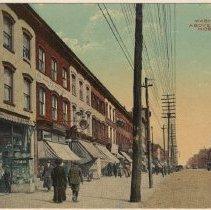 Image of Color postcard: Washington Street North from Fifth Street, Hoboken, circa 1908.  - Postcard