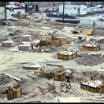 Image of Color photo of concrete foundation footings on the site of the north wing of Saint Mary Hospital, Hoboken, June 1976. - Transparency, Slide