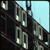 Image of Color photo of facade under construction of the north wing of Saint Mary Hospital, Hoboken, September 1976. - Transparency, Slide