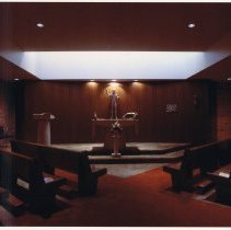 Image of Color photo of the chapel in north wing at Saint Mary Hospital, Hoboken, no date, probably Feb. 1976. - Print, Photographic