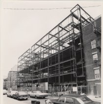 Image of B+W photo of steel framework erected for the north wing of Saint Mary Hospital, Hoboken, Sept. 1976. - Print, Photographic