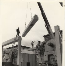 Image of B+W photo of framework being installed around power plant of Saint Mary Hospital, Hoboken, no date, ca. 1974-1975. - Print, Photographic