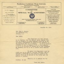 Image of TLS from L.G. Smith, National Catholic War Council to Mrs. Mary H. Markey, Nov. 29, 1919, re closing the Admiral Benson Club, Hoboken, ca. Dec. 1st & disposal of club's inventory.  - Documents