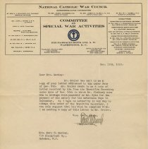 Image of TLS from Edward Arnold, National Catholic War Council to Mrs. Mary H. Markey, Hoboken, Dec. 11, 1919, re Admiral Benson Club, and salary of Gruler. - Documents