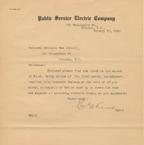 Image of TLS to from Public Service Electric Company to National War Council, Hoboken, Jan. 27, 1920, re refund of money and interest. - Documents