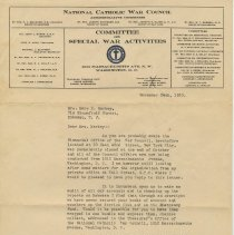 Image of TLS Edward Arnold, Comptroller, National Catholic War Council to Mrs. Mary H. Markey, Nov. 24, 1920 re records need for audit of Admiral Benson Club & Emergency Fund. - Documents
