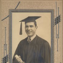 Image of Digital image of Paul Samperi in graduation cap and gown from 1944. - Print, Photographic