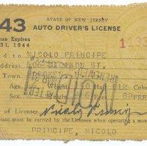 Image of New Jersey auto driver's licenses: Nicolo (Nicola) Principe of Hoboken, 1943 and 1946.  - License, Transportation