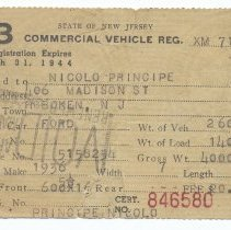 Image of New Jersey commerical vehicle registration issued to Nicolo (Nicola) Principe, 406 Madison St., Hoboken, 1943.  - License, Transportation