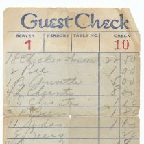 Image of Restaurant bill for a meal related to the Nicola Principe family or their ice cream and ices business, no date, circa 1960.