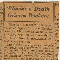 "Image of Item 6: obituary, ""Blackie's"" Death Grieves Dockers"