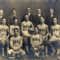 Image of Sepia tone photo of the 1915-1916 Hoboken [High School] basketball team posed in photographer's studio. - Print, Photographic