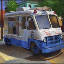 """Image of Painting: """"""""Mister Softee Truck on the Corner of Fourth Street and Park Avenue."""" By Frank Hanavan, Hoboken, 2007. - Painting"""