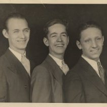 Image of B+W publicity photo of singer Johnny Ryan, center, with 2 unidentified men. (New York), no date, ca. mid-1930's-early 1940's. - Print, Photographic