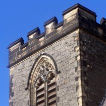 Image of 13: detail view of tower, east facade, looking southwest