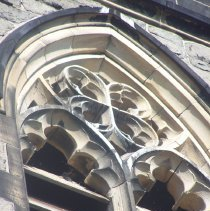 Image of 23: detail tracery and louvers in tower, east facade