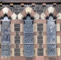 Image of 26: view of sanctuary windows with stained glass; east facade below tower