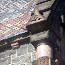 Image of 32: detail northeast corner of stone and granite work; slate roof