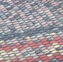 Image of 35: patterned slate roof in style of Edward Tuckerman Potter architecture