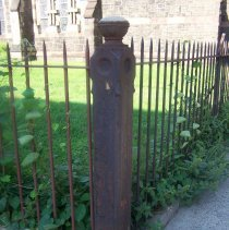 Image of 43: detail fence at corner of Willow Ave. & Sixth St.