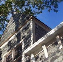 Image of 46: detail upper part of northwest corner of parish house