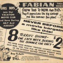 "Image of Handbill: Fabian Theatre, Hoboken. ""Girls Boys Join Our Vacation Movie Club."" No date, circa 1950's. - Handbill"