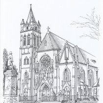 Image of B+W print of drawing: Our Lady of Grace Church, Hoboken, N.J. By Richard La Rovere, 2001. - Print