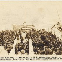 Image of Postcard: Easter Services...the U.S.S. Minnesota, Apr.20, 1919, Enroute...to New York with Homeward Bound Troops. Postmarked Hoboken, Apr. 25, (1919.) - Postcard
