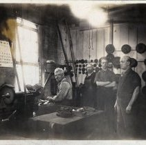 Image of Sepia-tone photo of workshop interior at Autographic Register Co., 10th & Clinton Sts., Hoboken, March 1923. - Print, Photographic
