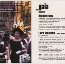 Image of Announcement card: The Flora Dora Girls Weekly Sewing Circle; exhibition, Big Questions. Gaia (_gaia). October 19, 2008. - Announcement