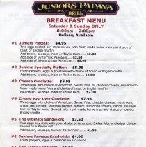 Image of Breakfast menu side 1