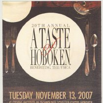 Image of Announcement card; 20th Annual A Taste of Hoboken Benefiting the YMCA. Nov. 13, 2007. - Announcement