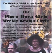 Image of Poster: The Flora Dora Girls Weekly Sewing Circle. Staged reading of LaRusso play by Gaia, HHM, Oct. 19, 2008. - Poster