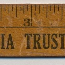 Image of Wooden ruler advertising from Columbia Trust Co., S.E. corner of 14th and Washington Streets, Hoboken, no date, ca. 1920-1935. - Ruler, Advertising