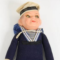 Image of Souvenir doll: Holland America Line sailor with printed hat band. No date, probably 1950s-1960s. - Doll