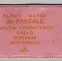 Image of Political advertising: rain hat in vinyl sleeve imprinted Re-Elect - Mayor De Pascale; Vote-for Councilmen... (Hoboken, ca. 1969 or 1973.) - Hat