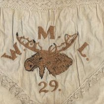 "Image of Cloth bag with flap embroidered with elk, initials ""W.M.L."" & no.""29."" N.p, n.d, ca. 1910-1930. - Bag"