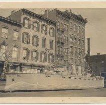 Image of B+W photo of World War I Liberty Bond ship float at Washington & 6th Sts., Hoboken, n.d, ca. June-Aug. 1918. - Print, Photographic