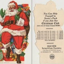 Image of Ornament, 3: Die-cut bank Christmas Club promotional cards intended as tree ornaments, Hoboken et al, n.d., ca. 1950-1965. - Ornament, Christmas Tree