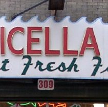 Image of Exterior signage from Apicella's Fish Market, 309 First St., Hoboken. Dismounted from building late 2007 (business closed 2005.) 