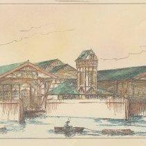 Image of detail bottom: rendering eastern facade, ferry slips