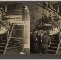 Image of Stereoview: V91241 - Severely Wounded Being Transferred to Hospital Ship from Transport, Hoboken. - Stereoview