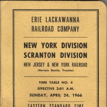 Image of Timetable (ETT): Erie Lackwanna R.R., New York Div.; Scranton Div. Time Table No. 4. Eff. Apr.24, 1966 / For Employees Only. - Timetable