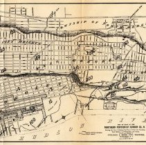 Image of fold out map: Existing Sewers, North Portion Hudson County, 1874.