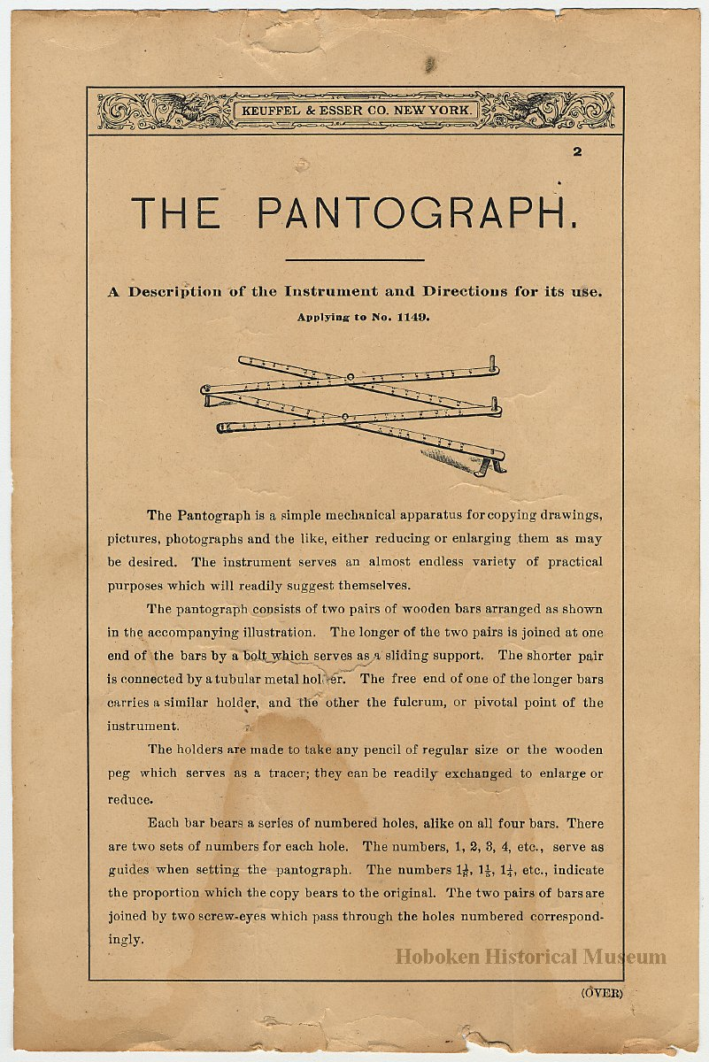 Product sheet: The Pantograph  A Description    Model 1149