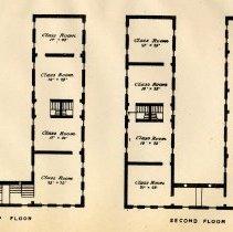 Image of plate: Hoboken Public School number two, top & second floor plan