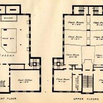 Image of plate: Hoboken Public School number four, basement & upper floors plan